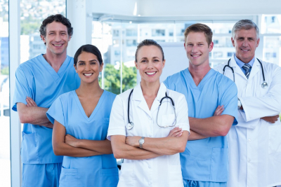 team of medical workers smiling